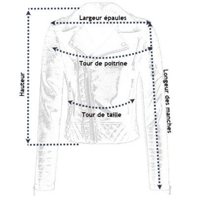 Tailles de la veste simili cuir pour femme