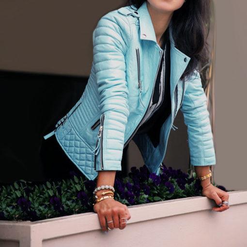 Veste en simili cuir pour femme bleue