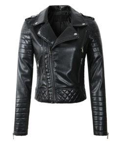 Veste simili cuir pour Femme à l'esprit rock et de couleur noire