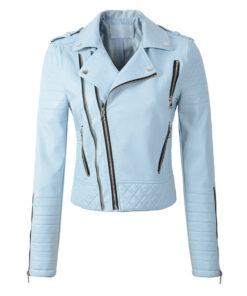 Veste simili cuir pour Femme à l'esprit rock et de couleur bleue