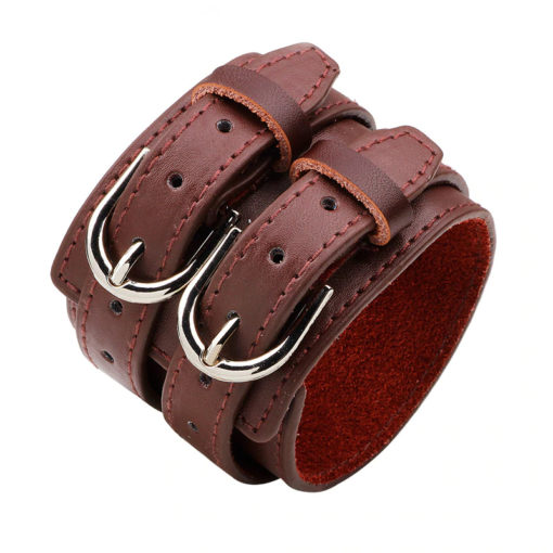 Bracelet de force 2 liens en cuir marron
