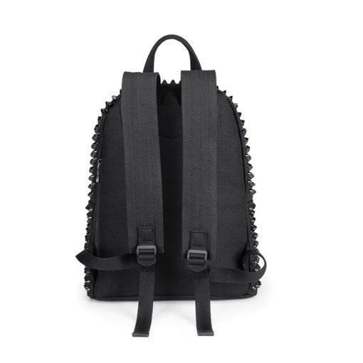 Lanières du sac à dos à clous noir pour femme
