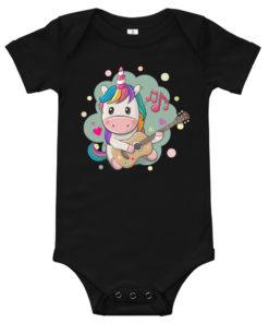 Body bébé avec une licorne multicolore jouant de la guitare (noir)