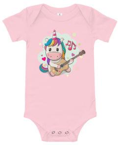 Body bébé avec une licorne multicolore jouant de la guitare (rose)