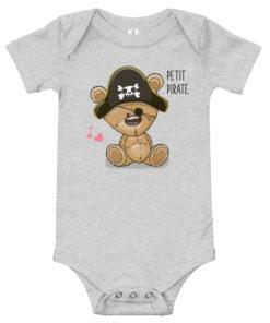 Body bébé avec un petit ourson portant un chapeau de pirate (gris)