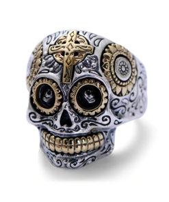Bague crâne mexicain en argent