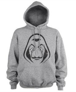 Sweat Casa de Papel gris à capuche avec le masque de Salvador Dali