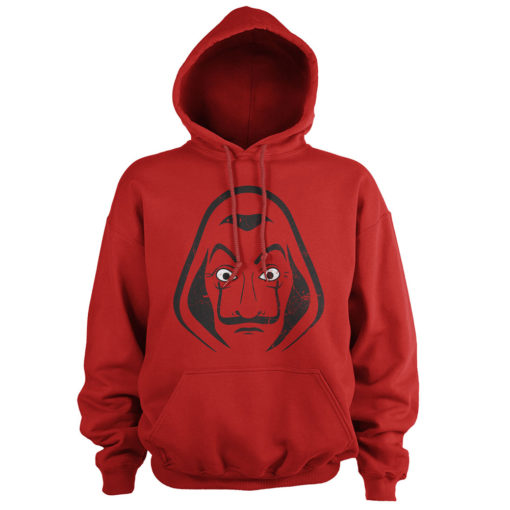 Sweat Casa de Papel rouge à capuche avec le masque de Salvador Dali