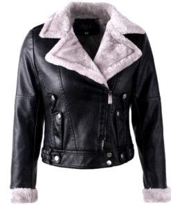 Veste en cuir synthétique, noire, fourrée pour femme