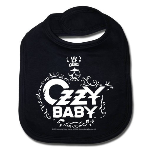 Bavoir Ozzy Osbourne noir pour bébé rock
