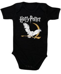 Body Harry Potter pour bébé avec une chouette (noir)
