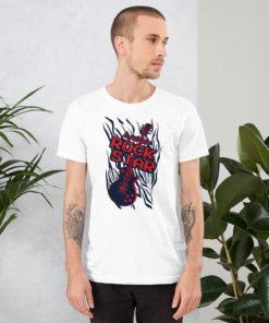 Homme portant un t-shirt Je suis une rock star (avec une guitare) de couleur blanc