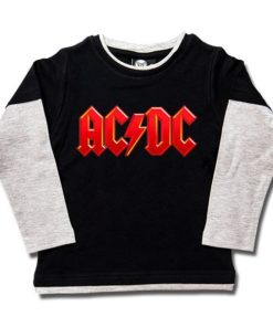 T-shirt skater ACDC logo Rouge